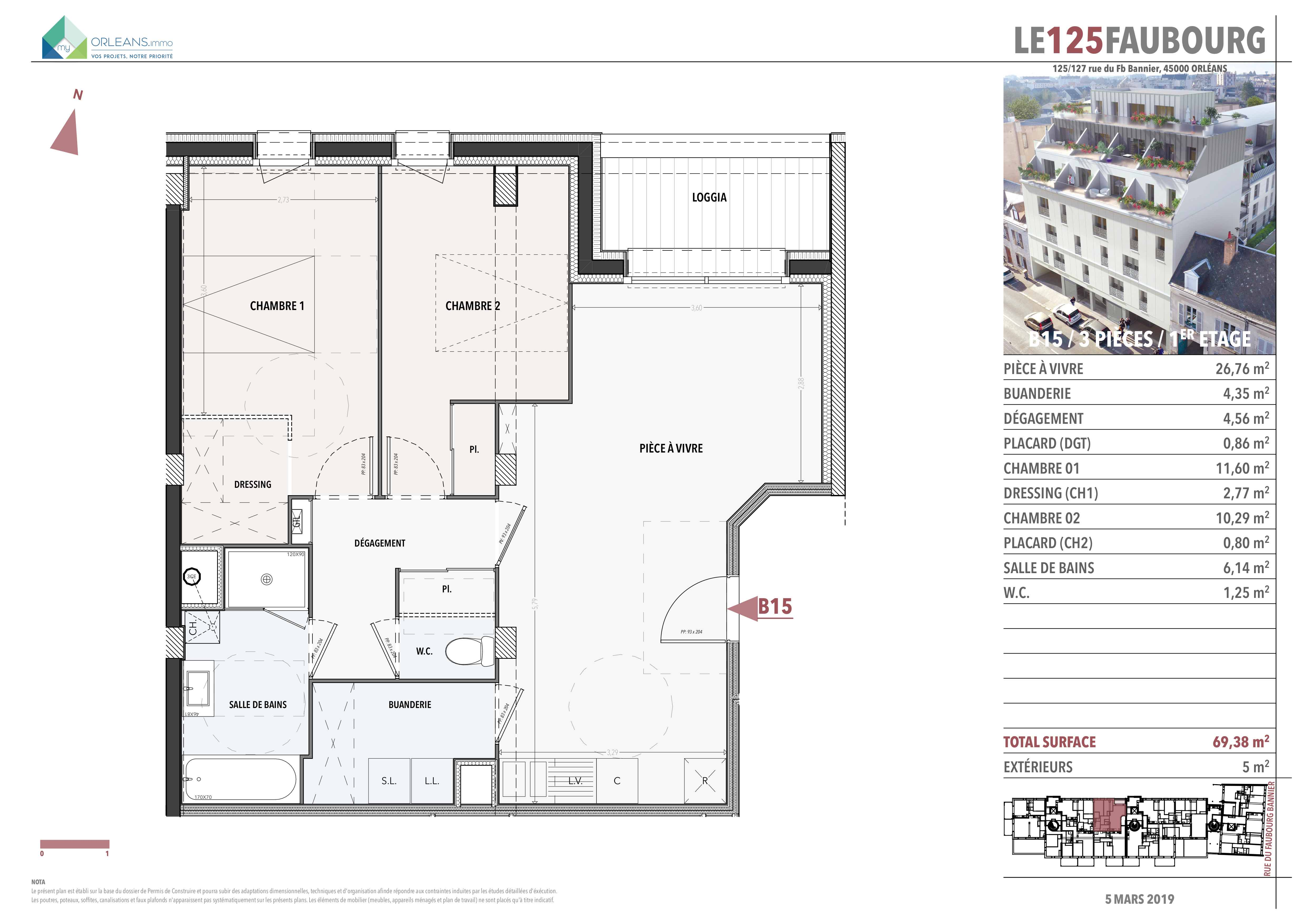 plan Appartement L125FB-B15