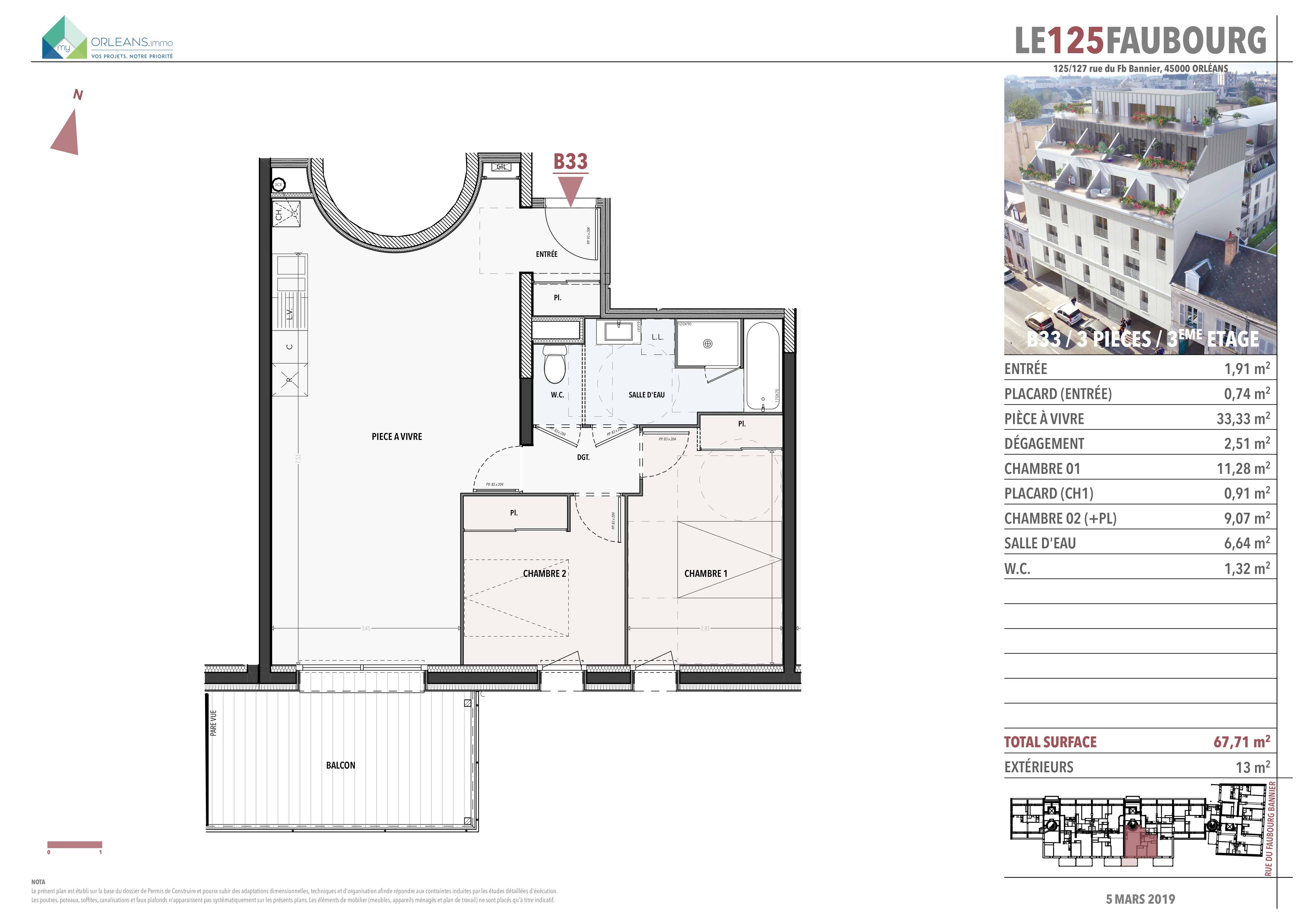plan Appartement L125FB-B33